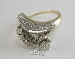 Beautiful Ladies 14k Two-toned Diamond Ring Size 7 1/2, 3.4g, 0.325ct