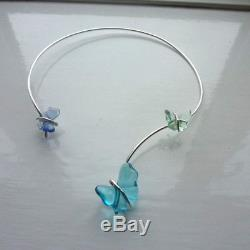 Beautiful Lalique Crystal Papillon Butterfly Necklace Solid Silver 925