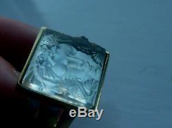 Beautiful Lalique Masque De Femme Crystal Ring UK size K