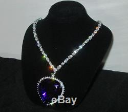 Beautiful Large Heart of the Ocean Blue Crystal Titanic Rose Necklace