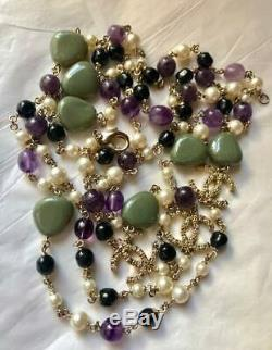 Beautiful Long Chanel A13p Semi Precious Multi Stone CC Logo Sautoir Necklace