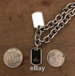 Beautiful NEW & Auth Silver GUCCI Chain / Loose Choker With Dog Tags RRP +$800