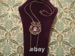 Beautiful Original Antique Art Nouveau Amethyst Paste Stones Lavalier necklace