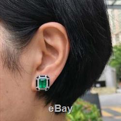 Beautiful Pair Art-Deco Looking 12.76CT Lustrous Zambian Emerald & Onyx Earrings
