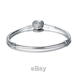 Beautiful Pandora PAVE Heart 100% Sterling Silver Snake Chain Bracelet WithPouch