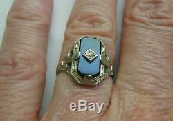 Beautiful Rare Ostby Barton Style 18k Wg Filigree Onyx Diamond Ring Sz 5.75 6
