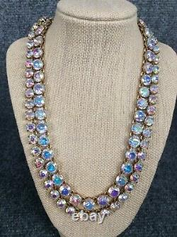 Beautiful Statement J. Crew Brulee Iridescent Crystal 2 strands necklace