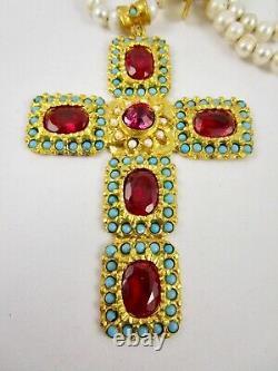 Beautiful Turkish Gilt Bronze Turquoise Pearl Gemstone Cross Necklace