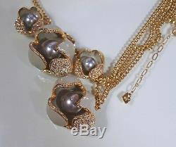 Beautiful Unusual Rare Drop Jewellery Set Signed Swarovski