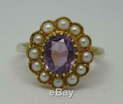 Beautiful Vintage Antique Style 9ct Gold Pearl & Amethyst Ring UK Size N 1/2