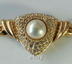 Beautiful Vintage Christian Dior Choker Necklace Gold Tone Rhinestone Faux Pearl