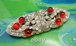Beautiful Vintage Coro Duette Dress Clips Rhinestones Red Glass Bullet Cabochons