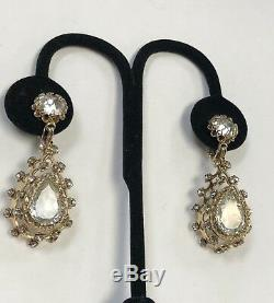 Beautiful Vintage Signed CHRISTIAN DIOR CLIP ON EARRING Fabulous Rhinestones