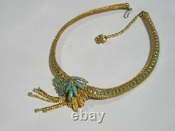 Beautiful Vintage Unsigned Hobe Gold Mesh Blue Glass Rhinestone drop Necklace