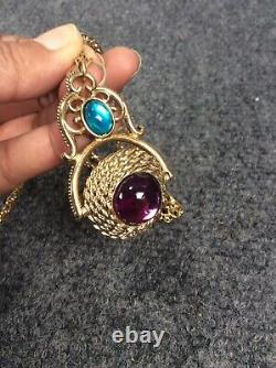 Beautiful Vtg 1928 green Purple Gripoix 2 sides pendant gold tone Necklace