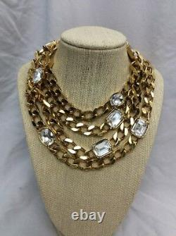 Beautiful Vtg Statement St. John Clear Crystal gold tone Necklace