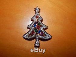 Beautiful Year 2001 Swarovski Crystal Christmas Tree Brooch Pin Stunning Color