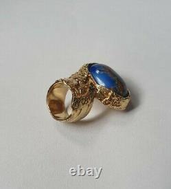 Beautiful Yves Saint Laurent YSL Arty Blue Aventurine Glass Gold Ring Size 5
