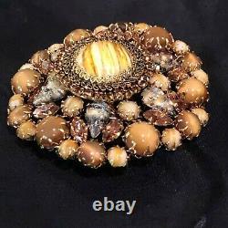Beautiful large vintage Schreiner style Dome Brooch 100+ Gems