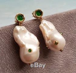 Beautiful natural baroque pearls green rhinestones earrings very Celine look