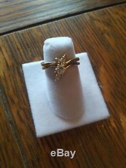 Beautiful, sparkly 14k diamond rings that fit together to make a flower. Size 7