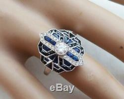 Beautiful vintage art deco style 18ct white gold 1.2ct sapphire and diamond ring