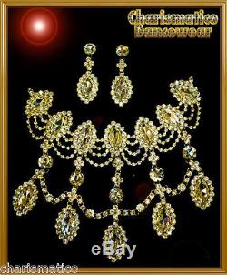 Beauty Pageant Rhinestone Dangling Tear DROP necklace & Earrings set