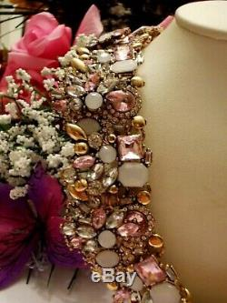 Betsey Johnson Faceted Pink Paved Crystal Collar Statement Necklace