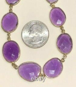 Bezel Set Amethyst Link Necklace, Royal Purple, Hook, Estate, Sterling Silver SS
