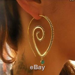 Boho 18K Gold Filled Hollow Engagement Hoop Earrings Drop Dangle Jewelry Gifts