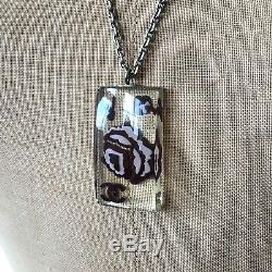 CHANEL 100% Perspex CC Vintage Style Camellia Charm Necklace Beautiful! RARE