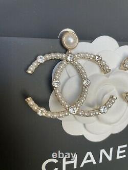 CHANEL Authentic CC Logo Beautiful Big Drop Earrings