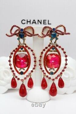 CHANEL Beautiful drop clip on earrings with bow and rhinestones