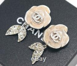 CHANEL CC Flower Rhinestone Earrings Clip-On Vintage withBOX #2119