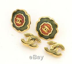 CHANEL CC Gripoix Stone Stud Earrings Flower 03P withBOX v989