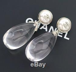 CHANEL CC Jumbo Crystal Teardrop Earrings Silver Clip-on 2018 withBOX v693