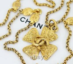 CHANEL CC Logo Cross Pendant Necklace 33 Gold Tone 95A Auth USED #148