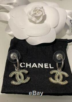 CHANEL CC Logo Drop Dangle Earrings with Original Box Authentic