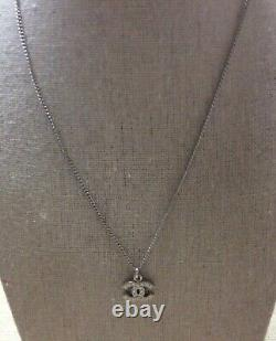 CHANEL CC Logo Silver Toned Chain Pendant Mini Necklace 16