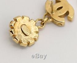 CHANEL CC Logos Camellia Dangle Earrings Crystal & Gold Tone withBOX