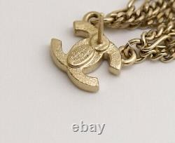 CHANEL CC Logos Chain Dangle Earrings Gold Tone 09P Auth withBOX n526