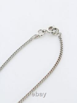 CHANEL CC Logos Color Stone Necklace Silver-tone Authentic