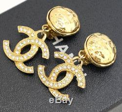 CHANEL CC Logos Crystal Dangle Earrings Gold & Rhinestone withBOX v1906