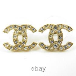 CHANEL CC Logos Crystal Stud Earrings 06A Gold tone & Rhinestone USED x770