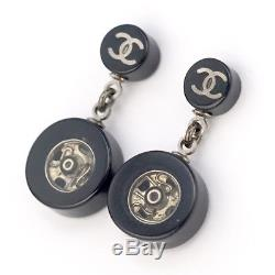 CHANEL CC Logos Dangle Earrings Black Resin 03A withBOX #1248