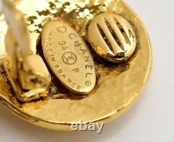 CHANEL CC Logos Dangle Earrings Gold Tone 94P withBOX excellent