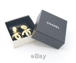CHANEL CC Logos Dangle Earrings Gold Tone 94P withBOX excellent a565