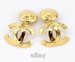 CHANEL CC Logos Dangle Earrings Gold Tone 94P withBOX excellent u3692