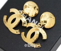 CHANEL CC Logos Dangle Earrings Gold Tone 94P withBOX excellent v1768