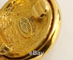 CHANEL CC Logos Dangle Earrings Gold Tone Hoops Clips Vintage v1895